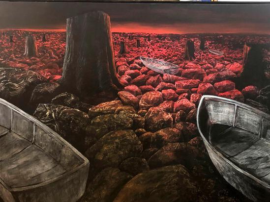 "Neil Meitzler (American1930-2009) ""Destroyed Landscape"" 1993 Oil on Canvas Painting"
