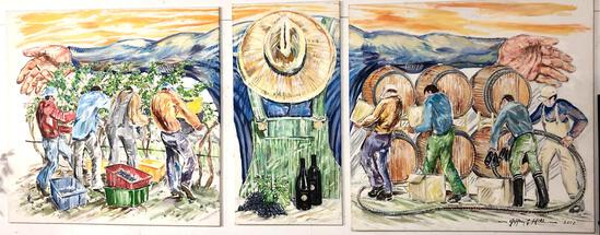 Jeffery Hill (American 1955- Artist /Sculptor) Triptych Mural