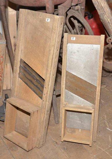 2 Wooden Kraut Cutters; (1) 30
