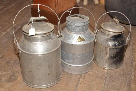 3 Cream Cans; 1 Marked Liq 4qt