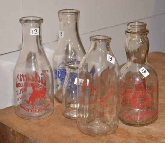 5 Old Milk Bottles; (1) Adams