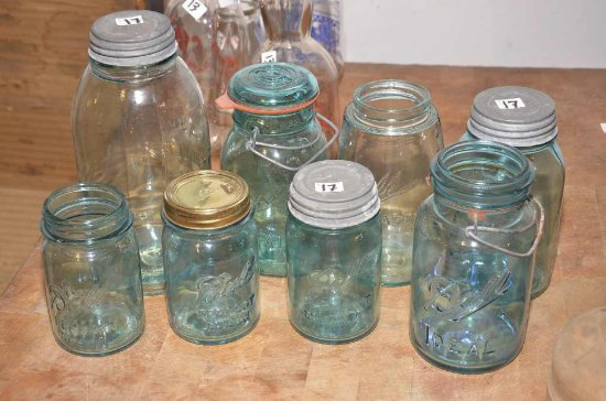 8 Blue Canning Jars; (1) Ideal