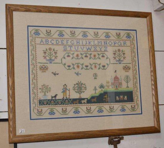 Vintage Cross Stitch Sampler 1