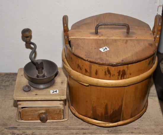 """Vintage 10"""" Wooden Bucket W/li"""