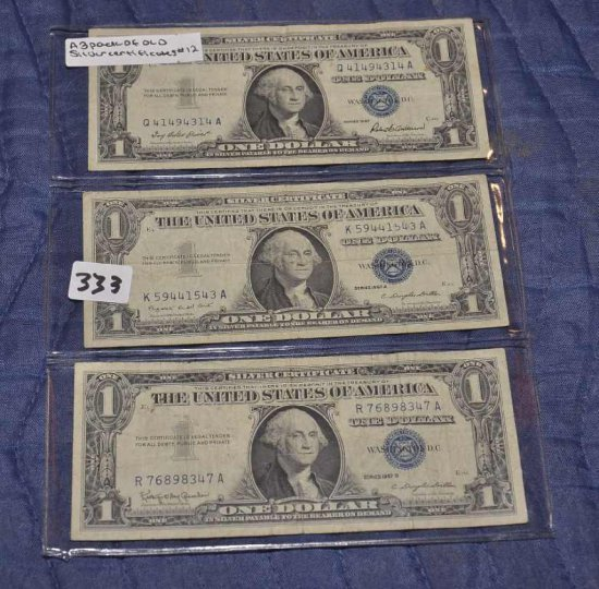 3 Pack Of Old $1 Silver Certif