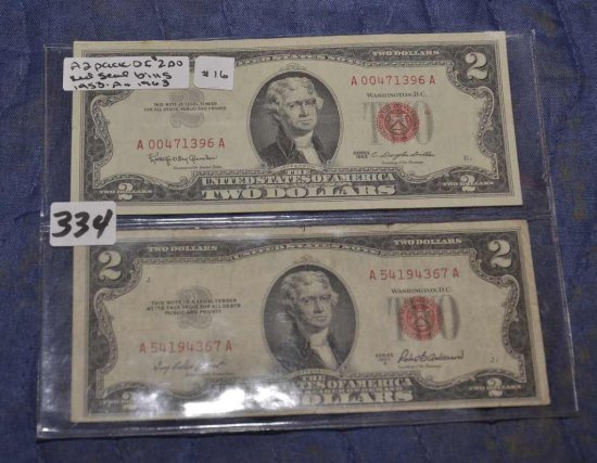 2 Pack Of $2 Red Seal Bills Fr