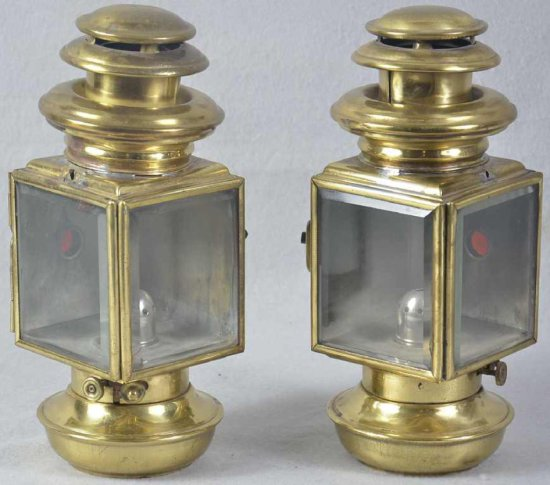Pair Of Brass Carriage Lantern