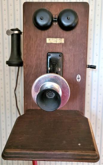 Oak Wall Phone w/Crank & Ear Piece