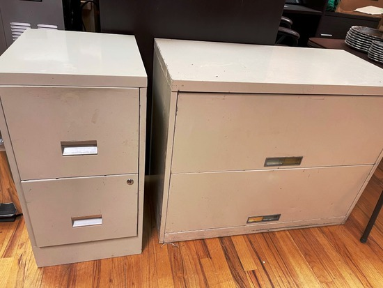 File cabinet and covered book case