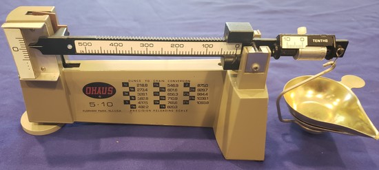 OHAUS 5.10 PRECISION RELOADING SCALE, EXCELLENT CONDITION