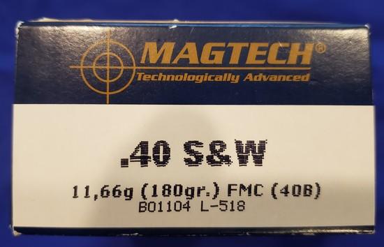 AMMO MAGTECH .40 S&W 180GR FMJ, 1 FULL BOX 50RDS