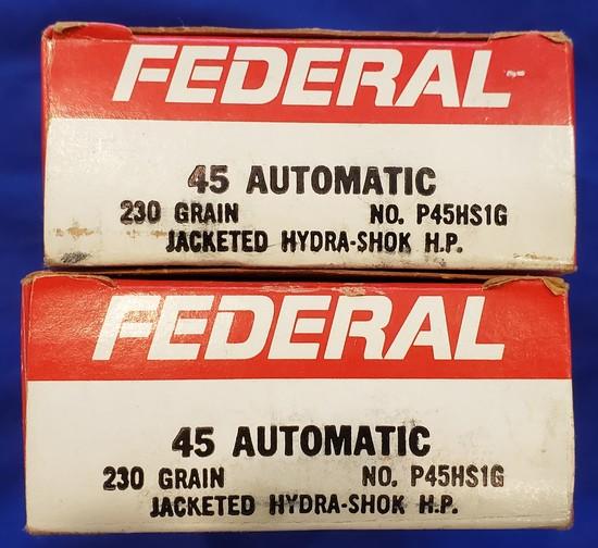 AMMO FEDERAL .45 ACP 230GR HYDRA SHOK HP, 2 FULL BOXES 100 RDS