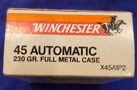 AMMO WINCHESTER .45 ACP 230GR FMJ, 1 BOX 50 RDS