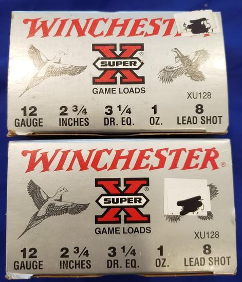 "AMMO WINCHESTER SUPER X 12 GAUGE SHOTGUN SHELLS, #8, 2.75"", 2 BOXES 50 RDS"