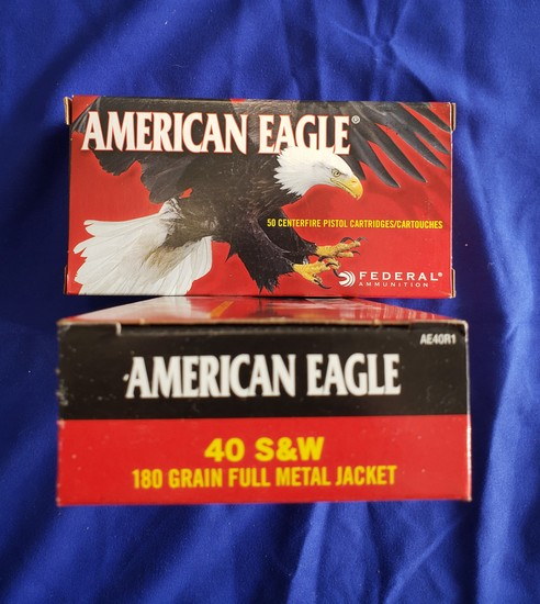 AMERICAN EAGLE .40 S&W 180GR FMJ… 100 RDS