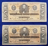 CONFEDERATE MONEY, TWO $1 BILLS