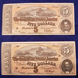 CONFEDERATE MONEY, TWO $5 BILLS
