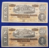 CONFEDERATE MONEY, TWO $10 BILLS