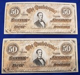 CONFEDERATE MONEY, TWO $50 BILLS