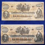 CONFEDERATE MONEY, TWO $100 BILLS