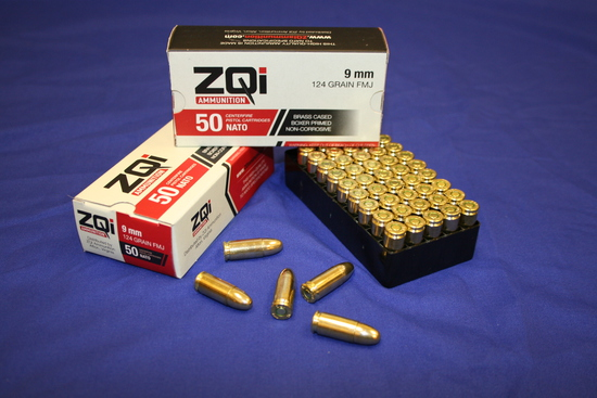 ZQI 9mm Luger NATO Ammo 100 Rds 124 gr FMJ Brass Cased