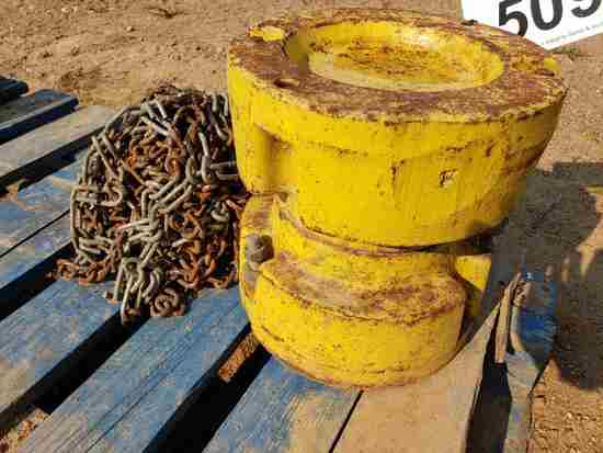 """(2) 10"""" Wheel Weights & Tire Chains For John Deere"""