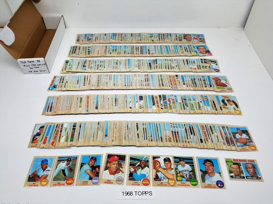 lot of (500)+- 1968 TOPPS baseball cards, some dups, range #115-598, (128 High Series cards) NM to M