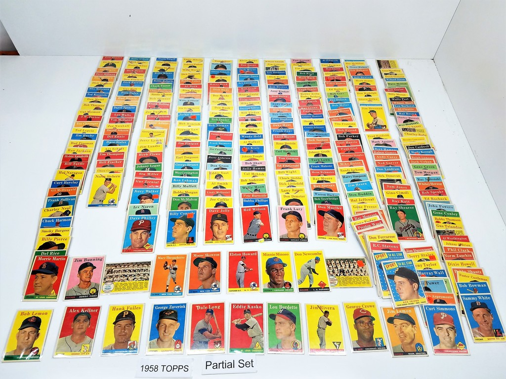 1958 TOPPS  Partial Set, (351 Cards) Range #1 to #495 EX to NM. Includes stars (See Pic list)