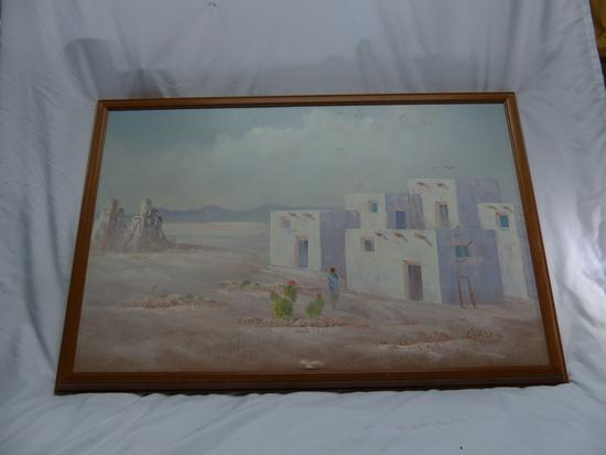 House in the Desert, Oil Painting