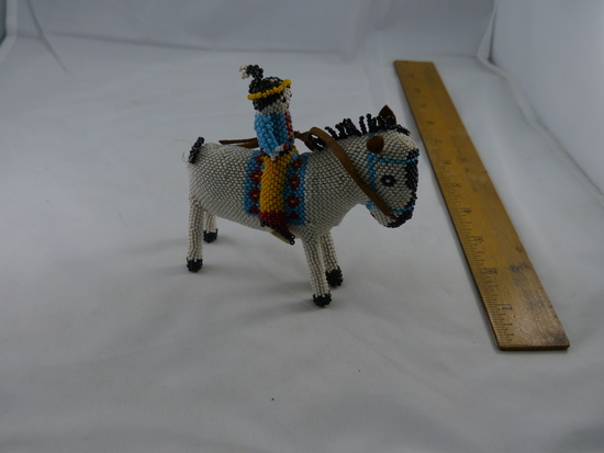 Vintage Native American Art Hand Crafted Beaded Horse And Rider
