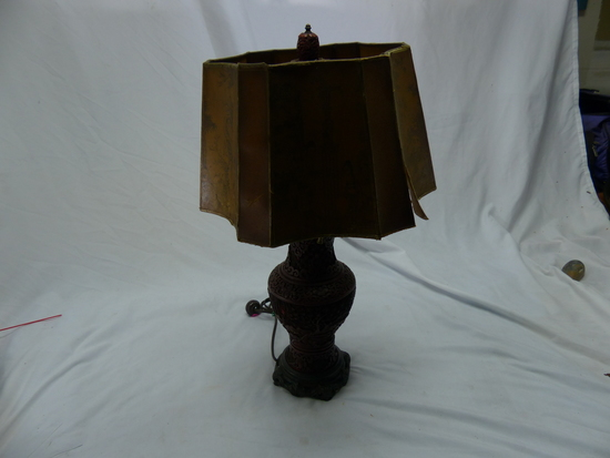 Vintage Chinese Cinnabar, Table Lamp With Shade