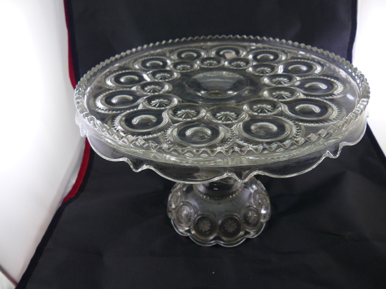 Vintage Ornate Pattern Clear Glass Cake Plate Display Stand
