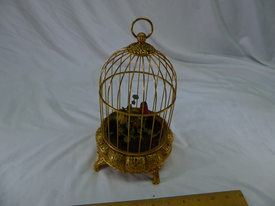 Bird Cage Wind Up Mechanical Birds Heads And Tails Move