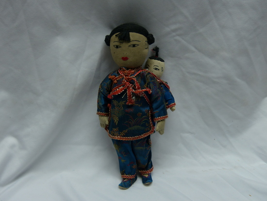 Antique Japanese Cloth Doll Mother with Child