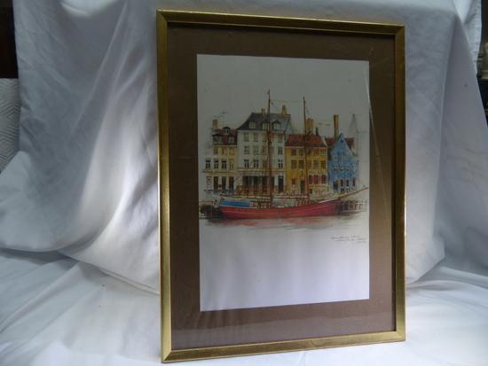 Robert Hawkins, Vintage Artwork  Red Ship Print and Ship Bow & City