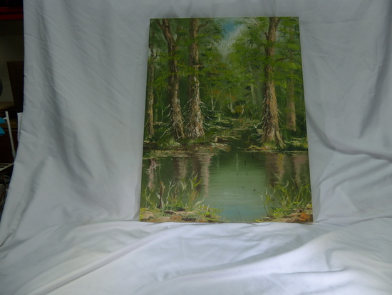 Chillil  W Wieung also know as C.W. Lai Forest Oil Painting