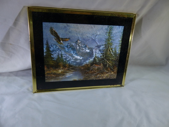 Eagle and Cabin Foil Art Picture