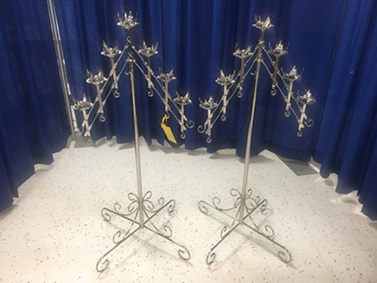 (2) 7 Light V-Shaped Adjustable Height Candelabras