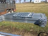 (10) New 6 Bar 12ft Corral Panels & (1) 4ft Gate, Makes 40ft Pen (11x$)