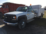 2001 Chevy 3500 HD, 2WD dually truck, good rubber, auto, 8100 V8, 110,000 miles, 12' service body, R