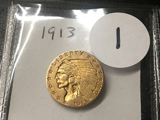 1913 $2 1/2 Indian Gold