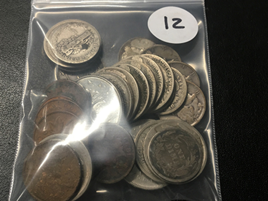 Bag of Misc. Coins (10) Silver Dimes, 2 V-Nickels, Silver China Dollar, and other coins