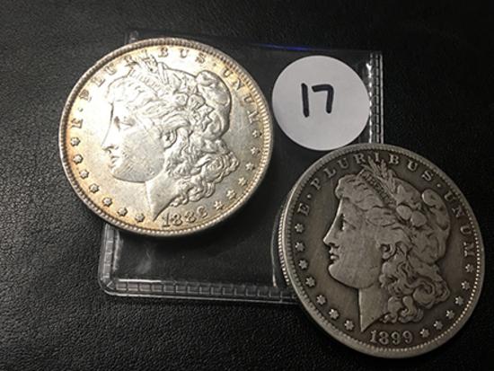 2x$ 1886, 1899-S Morgan Dollars