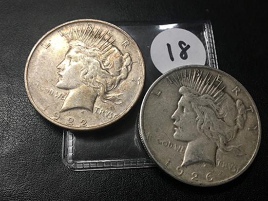 2x$ 1922-D, 1926-S Peace Dollars