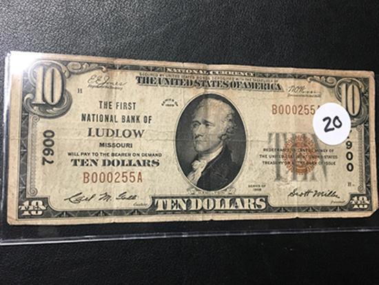 1929 $10 Ludlow MO Bank Note