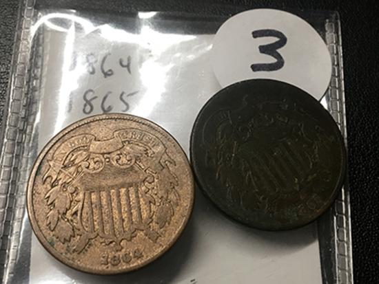 1864 & 1865 2 cent pc.