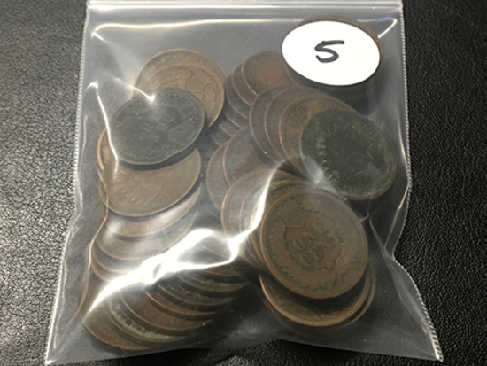 Bag of 54 Indian Cents, Full Date