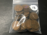 Bag of Assorted (53) Wheat Cents