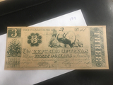 $3 Republic of Texas Promissary Note