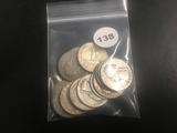 Lot of 17 Mixed date Washington Silver Quarters